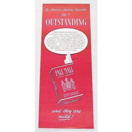 1947 Pall Mall Cigarettes Color Tobacco Print Ad