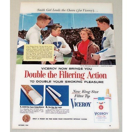1954 Viceroy Cigarettes Color Tobacco Print Ad - Girl Leads The Cheer