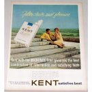 1963 Kent King Size Cigarettes Color Tobacco Print Ad - Satisfies Best