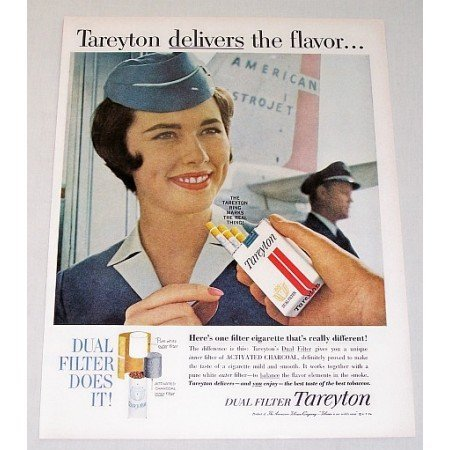 1962 Tareyton Cigarettes Flight Stewardes Color Tobacco Print Ad