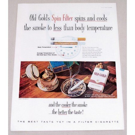 1960 Old Gold Cigarettes Color Print Ad - Spin Filter