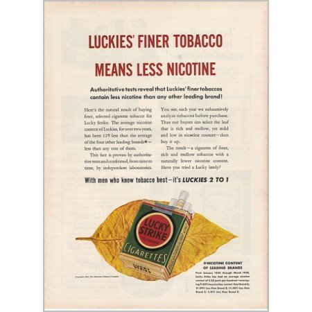 1940 Lucky Strike Cigarettes Color Print Ad - Finer Tobacco