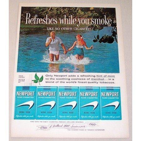 1960 Newport King Size Cigarettes Color Tobacco Print Ad