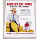 1949 Lucky Strike Cigarettes Color Tobacco Print Ad - Pay More