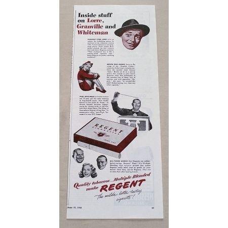 1944 Regent Cigarettes Vintage Tobacco Print Ad Celebrity Lorre Granville
