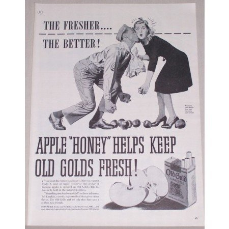 1944 Old Gold Cigarettes Army Kiss Vintage Tobacco Print Ad