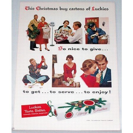 1956 Lucky Strike Cigarettes Color Christmas Print Ad