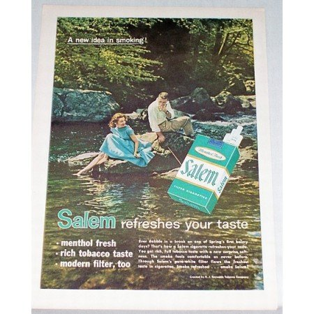 1959 Salem Cigarettes Color Tobacco Print Ad - New Idea In Smoking