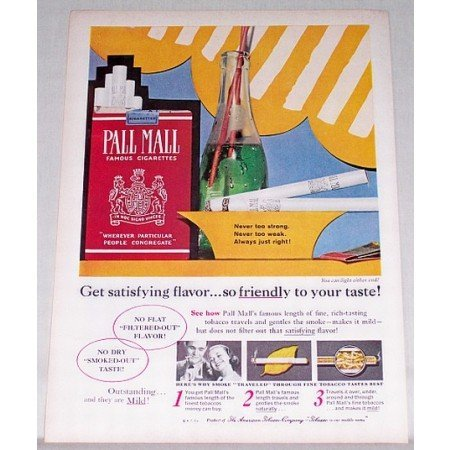 1960 Pall Mall Cigarettes Vintage Tobacco Print Ad - Never Too Strong