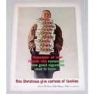 1960 Lucky Strike Cigarettes Color Christmas Print Ad