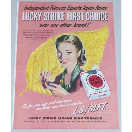 1948 Lucky Strike Cigarettes Crossley Poll Color Tobacco Print Ad
