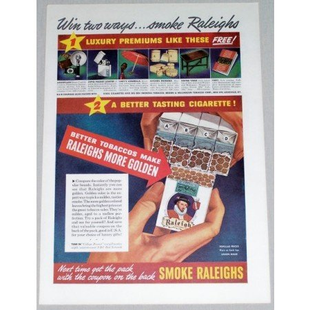 1941 Raleigh Cigarettes Color Tobacco Print Ad - Win Two Ways