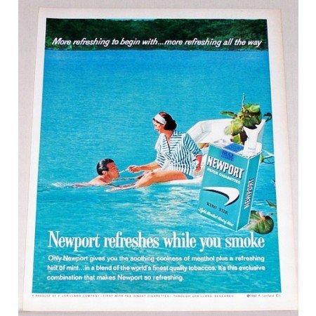 1962 Newport Cigarettes Vintage Tobacco Print Ad - Boat On Lake