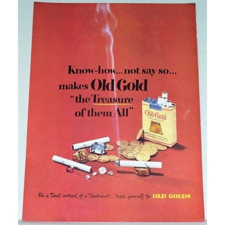 1948 Old Gold Cigarettes Color Tobacco Print Ad - The Treasure