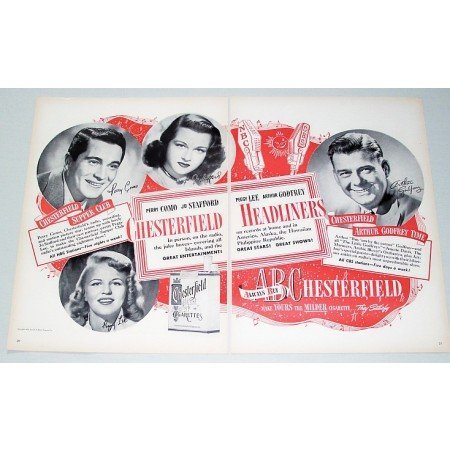 1948 Chesterfield Cigarettes 2 Page Celebrity Print Ad
