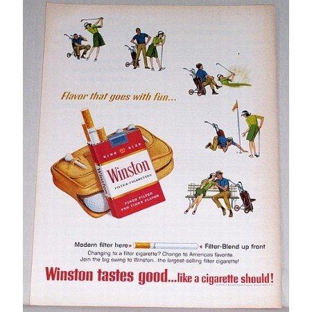 1964 Winston Cigarettes Golf Art Vintage Tobacco Print Ad