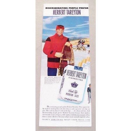 1951 Herbert Tareyton Cigarettes Winter Art Color Tobacco Print Ad - Winter Sports