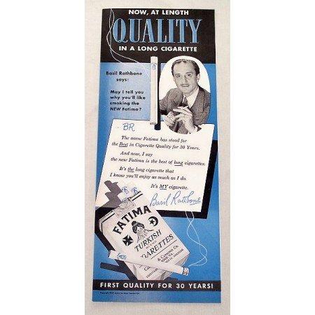 1949 Fatima Turkish Cigarettes Vintage Tobacco Print Ad Basil Rathbone
