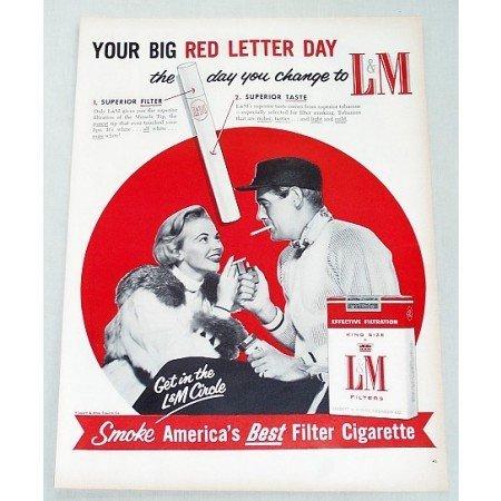 1956 L&M Cigarettes Tobacco Vintage Tobacco Print Ad - Red Letter Day