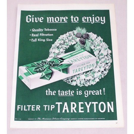 1956 Tareyton Cigarettes Color Christmas Tobacco Print Ad - More To Enjoy
