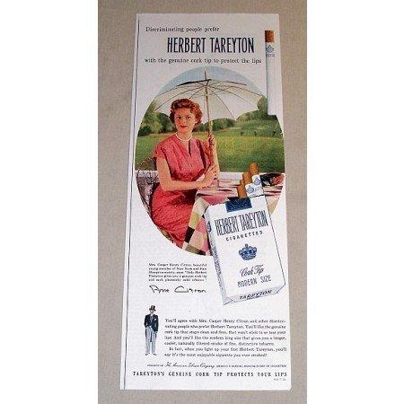 1954 Herbert Tareyton Cigarettes Color Tobacco Print Ad - Ann Citron