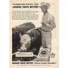 1955 Lucky Strike Cigarettes Cow Cattle Vintage Tobacco Print Ad - Joe Weedon Flat Rock Texas
