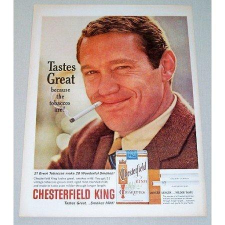 1963 Chesterfield King Cigarettes Color Tobacco Print Ad