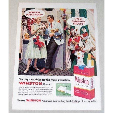 1957 Winston Cigarettes Circus Carnival Clown Color Tobacco Print Ad