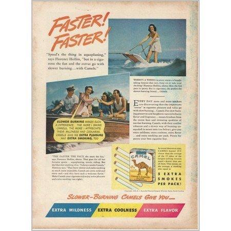 1940 Camel Cigarettes Color Tobacco Print Ad - Faster Faster!