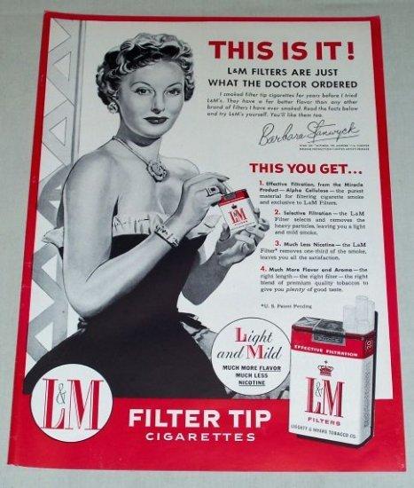 1954 L&M Cigarettes Vintage Tobacco Print Art Ad Celebrity Barbara Stanwyck