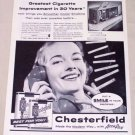 1955 Chesterfield Cigarettes Vintage Tobacco Print Ad