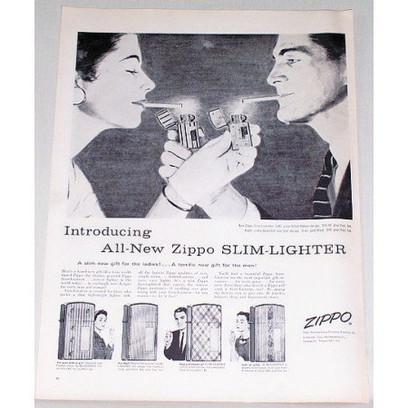 1956 Zippo Slim Lighter Vintage Print Ad