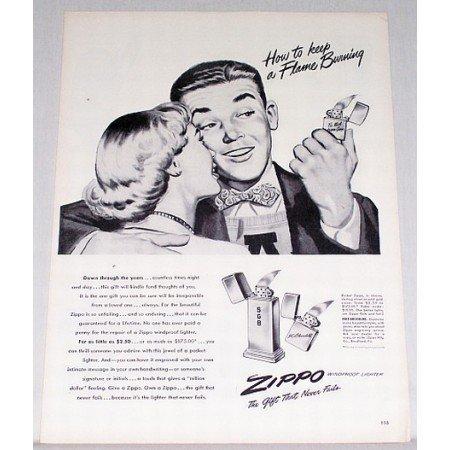 1948 Pocket Zippo Windproof Lighter Vintage Print Art Ad