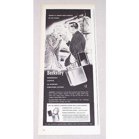 1946 Berkeley Windproof Lighter Vintage Print Ad - Jeweltone Colors