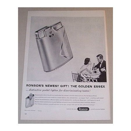 1955 Ronson Golden Essex Pocket Lighter Vintage Print Ad