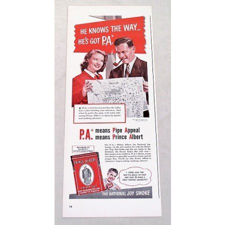 1947 Prince Albert Pipe Tobacco Color Print Ad - He Knows The Way