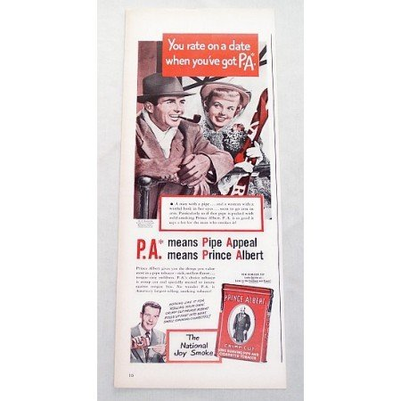 1947 Prince Albert Pipe Tobacco Color Print Ad - You Rate On A Date