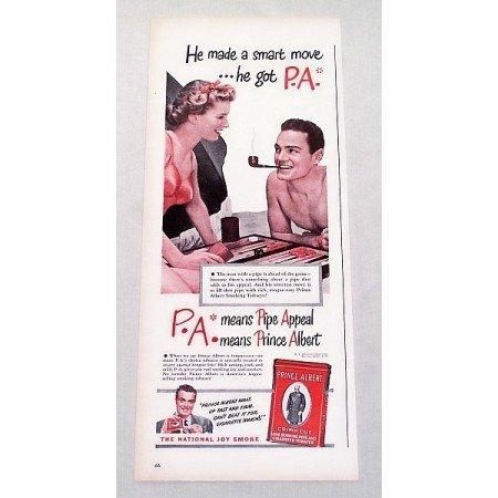 1947 Prince Albert Pipe Tobacco Backgammon Game Color Print Ad - Made A Smart Move