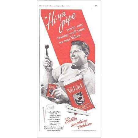 1938 Velvet Pipe Tobacco Vintage Print Color Ad - Hi-ya Pipe