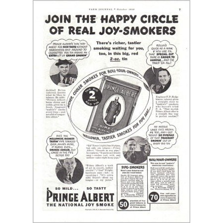 1938 Prince Albert Pipe Tobacco Vintage Print Ad - The Happy Circle