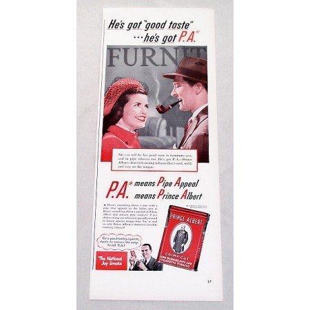 1947 Prince Albert Pipe Tobacco Color Print Ad - He's Got Good Taste