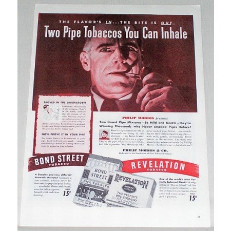 1945 Revelation Bond Street Pipe Tobacco Color Print Ad