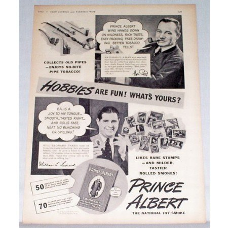 1943 Prince Albert Pipe Tobacco Vintage Print Ad - Hobbies Are Fun!