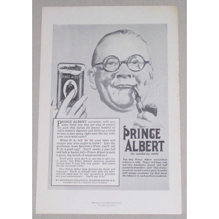 1919 Prince Albert Pipe Tobacco Vintage Print Ad - Joy Smoke
