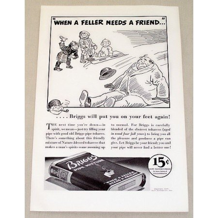 1937 Briggs Pipe Mixture Tobacco Vintage Print Ad - Needs A Friend
