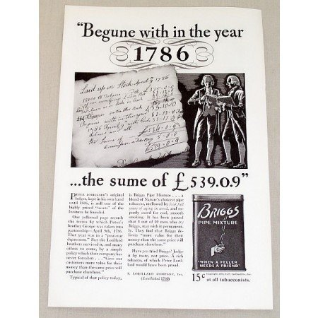 1937 Briggs Pipe Mixture Tobacco Vintage Print Ad - With In The Year