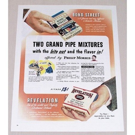 1945 Bond Street and Revelation Pipe Tobacco Color Print Ad