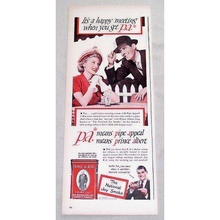 1949 Prince Albert Pipe Tobacco Color Print Ad - Happy Meeting