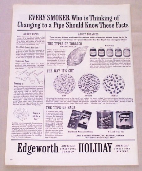 1955 Edgeworth Holiday Tobacco Vintage Print Ad - Know These Facts