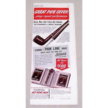 1940 Briggs Tobacco Park Lane Briar Pipe Offer Vintage Print Ad